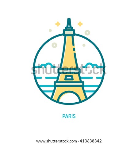 Trendy vector line Eiffel tower icon. Paris, France - stock vector