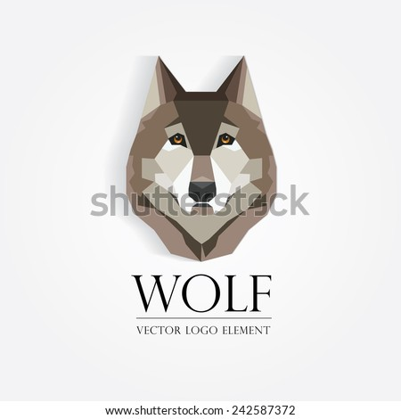 trendy wolf`s head logo element in low poly geometric style- modern flat design vector illustration - stock vector