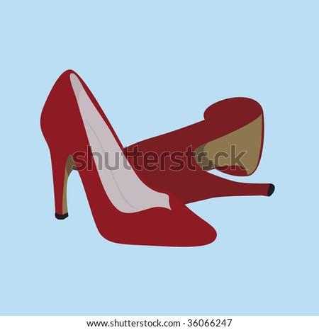 trendy Woman shoes - high heels vector illustration - stock vector