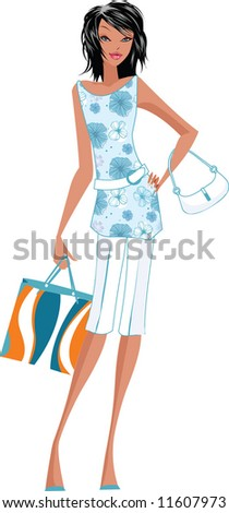 Trendy young woman with shopping bag
