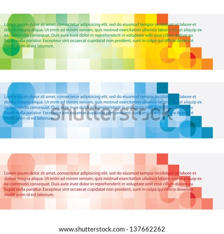 tri color sample text banner with cube - stock vector