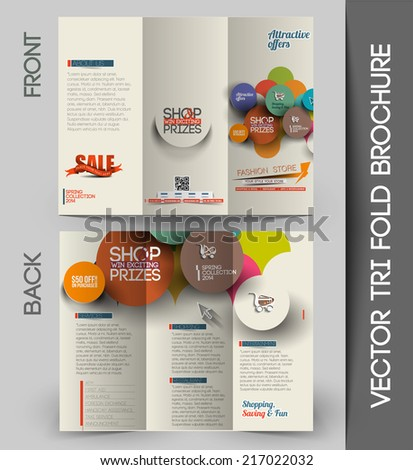 Tri-fold Brochure Design Element, Vector Illustartion. - stock vector