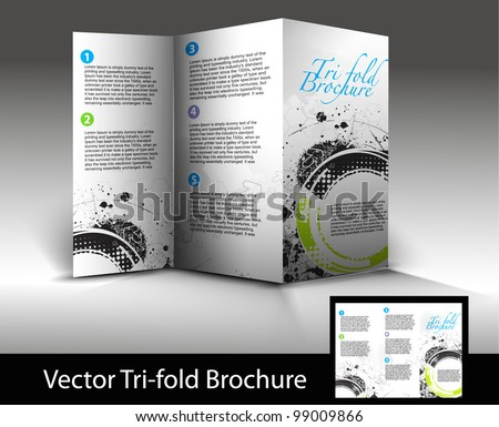 Tri-fold brochure design element, vector illustration. - stock vector
