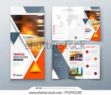 Tri Fold Brochure Design Orange Template Stock Vector 795992185