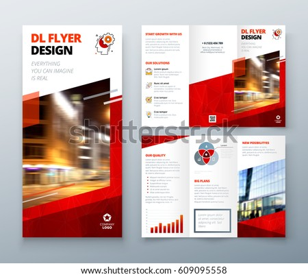 Tri Fold Brochure Design Red Dl Stock Vector Shutterstock - Tri fold brochure design templates