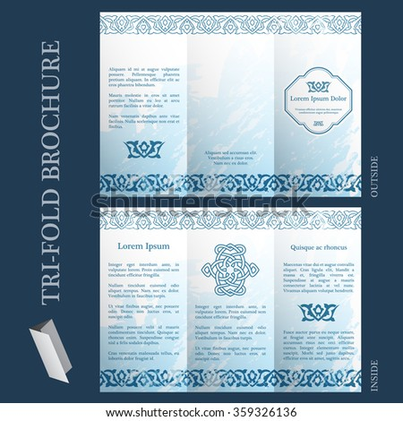 Tri-fold brochure template with ottoman arabesque pattern - stock vector