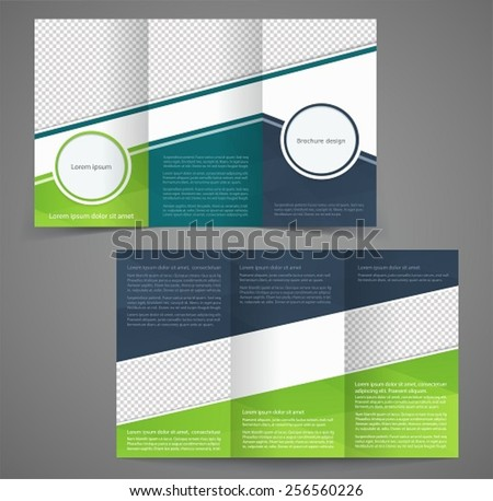 Empty bifold brochure template design green stock vector for Two sided brochure template