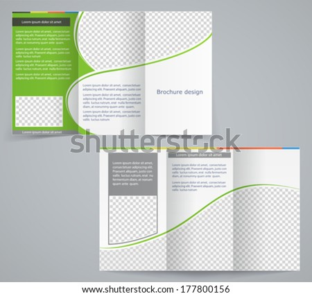 Tri-fold business brochure template, vector green design flyer - stock vector