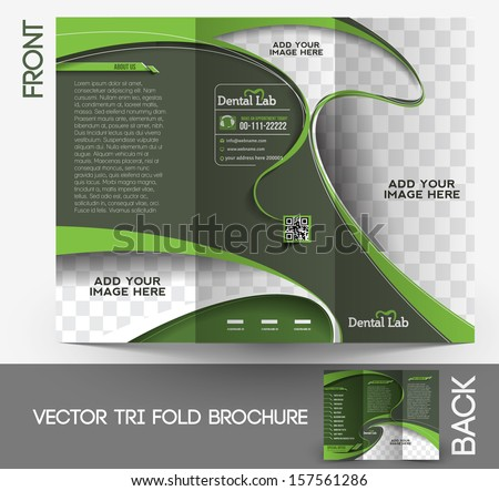 Tri-fold Dental Brochure Design Vector Illustartion. - stock vector