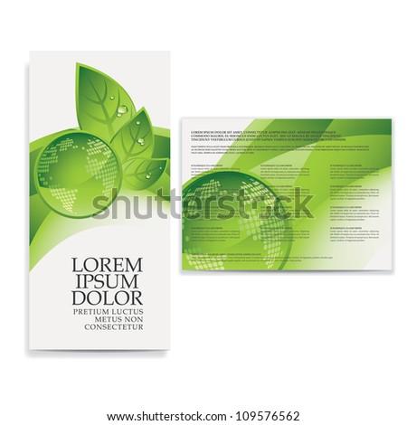tri fold eco brochure template - stock vector