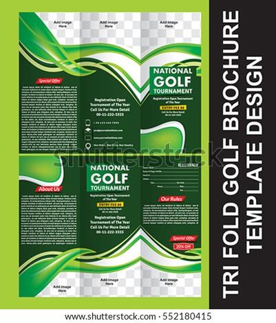 Tri Fold Golf Brochure Template Vector Stock Vector - Golf brochure template