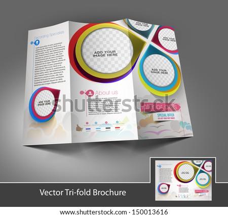 Tri-fold Interior Designers Front brochure design. - stock vector