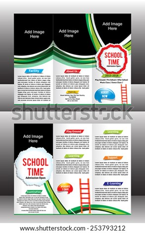 tri fold school brochure template vector illustration - stock vector