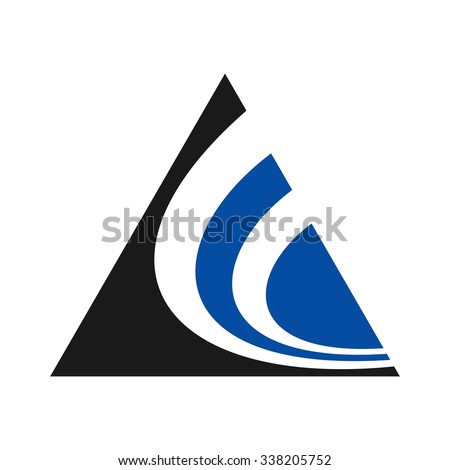 triangle symbol letter swoosh symbol letter stock vector