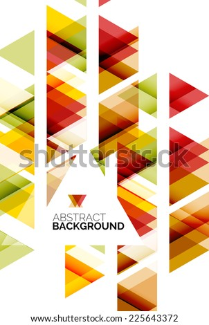 Triangle geometric abstract background, colorful business or technology design on white with sample text - stock vector