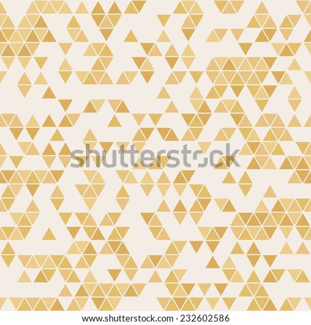Triangle golden paper grunge vector seamless pattern on realistic texture - stock vector