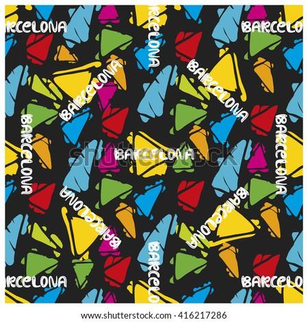 Triangle hand drawn vector seamless pattern. Gaudi mosaic pattern and word Barcelona. Antonio Gaudi pattern. Barcelona pattern - stock vector