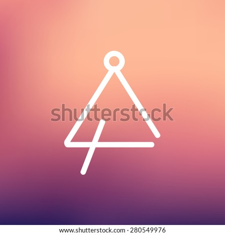 Triangle icon thin line for web and mobile, modern minimalistic flat design. Vector white icon on gradient mesh background. - stock vector