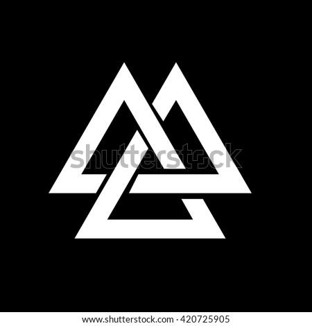 Triangle Logo Valknut Viking Age Symbol Stock Vector 2018