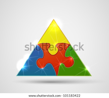 Triangle made from puzzle pieces - stock vector