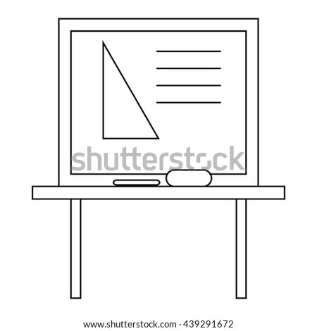 Triangle on a school blackboard icon outline style - stock vector