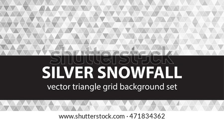"Triangle pattern set ""Silver Snowfall"". Vector seamless geometric backgrounds"