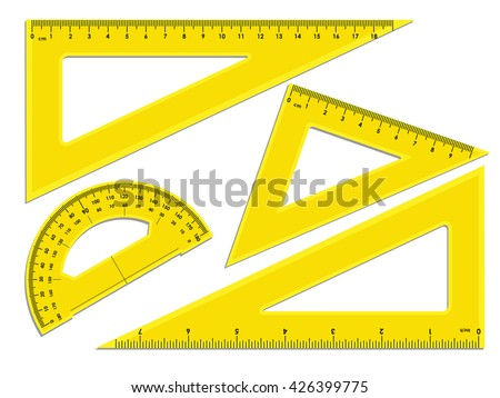Triangle Rulers Protractor Rulers Marked Centimeters Stock Vector