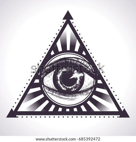 Triangle Eye Providence Symbol Power Vector Stock Vector 685392472