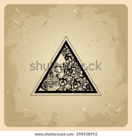 Triangle with flowers and skull in the style of tattoos - stock vector