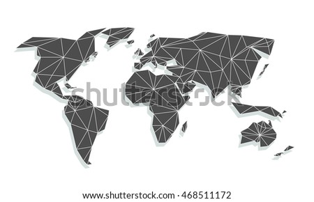 Triangle world map vector net triangles vectores en stock 468511172 triangle world map vector net of triangles with shadow on white background gumiabroncs Image collections