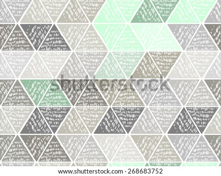 Triangles in hatching technique. Vector grunge pattern - stock vector