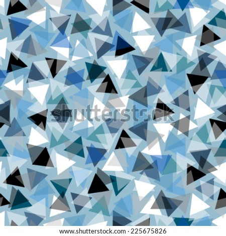 triangles on bright blue seamless pattern - stock vector