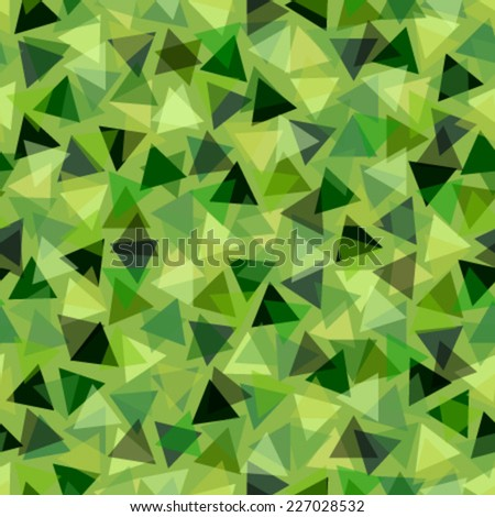 triangles on bright green seamless pattern - stock vector