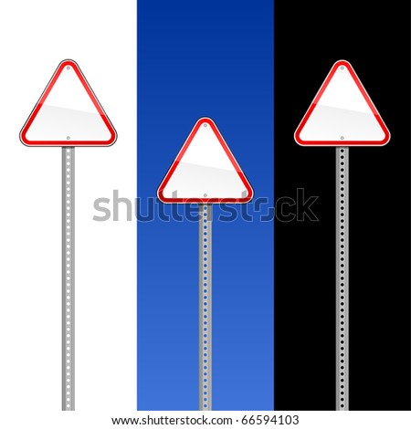 Triangular blank red road signs with metal pole on white, blue sky and black - stock vector