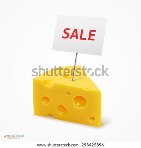 Triangular piece of cheese. Vector illustration