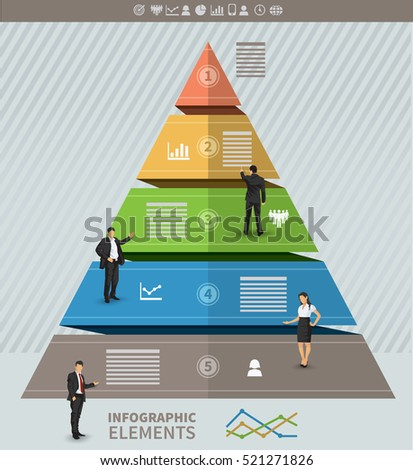 Triangular presentation template with five stages and place for text