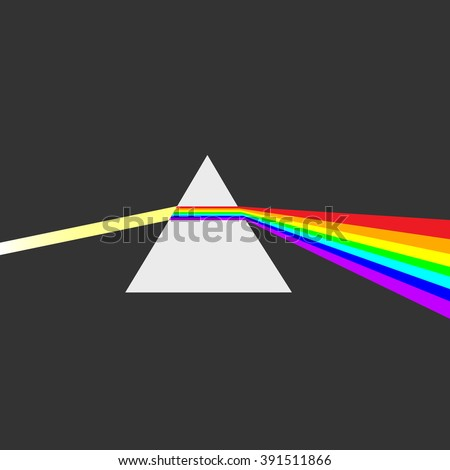 Triangular prism breaks white light ray into rainbow spectral colors. Light rays are presented as electromagnetic waves. Dispersion, dispersive prism, physics - stock vector