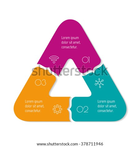 Triangular progress steps for tutorial. 3 options paper infographic banner. Number banner template for diagram, presentation or chart. Business concept sequence banner. Curved arrow workflow layout. - stock vector