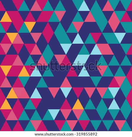 Triangular seamless pattern. Abstract background. Magenta and cyan.