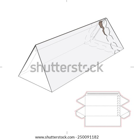 Triangular Tube Box with Zipper Seal and Die Cut Template - stock vector