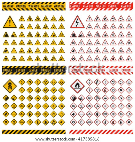 Triangular warning hazard symbols. Big set danger sign vector illustrator. Danger sign safety warning collection and risk caution stop danger sign. Security toxic yellow triangle sign. - stock vector