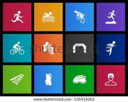 Triathlon icon series  in Metro style. - stock vector