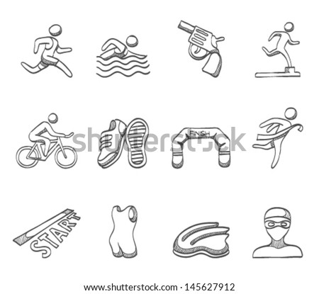 Triathlon icon series in sketch - stock vector