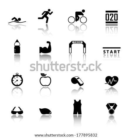 Triathlon icons - stock vector