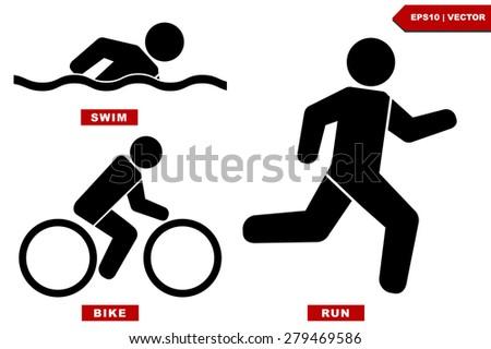 Triathlon marathon active Icons , swimming, running and cycling. Vector illustration. - stock vector