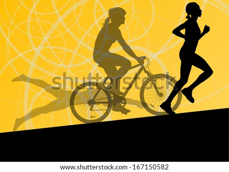 Triathlon marathon active young women swimming cycling and running sport silhouettes collection vector abstract background illustration - stock vector