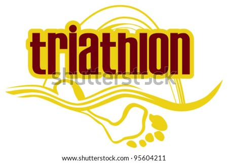 triathlon sign - stock vector