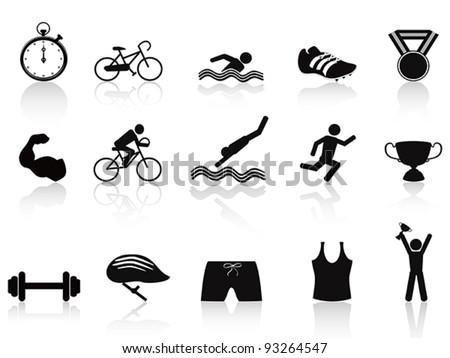 triathlon sport icon - stock vector