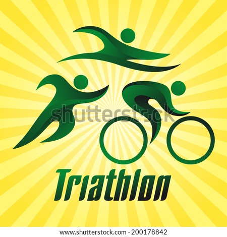 Triathlon sportsman on yellow striped background, sport icon, vector illustration - stock vector