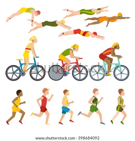 Triathlon, swimming, running and cycling triathlon. Swimming, running and triathlon cycling fitness sport. Triathlon athletes design stylized symbolizing competition race athlete man character vector. - stock vector